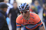 Giovanni Lonardi (ITA) Nippo-Vini Fantini-EUR.OV. after crossing the finish line at the end of a very dusty Strade Bianche 2019 running 184km from Siena to Siena, held over the white gravel roads of Tuscany, Italy. 9th March 2019.<br /> Picture: Eoin Clarke | Cyclefile<br /> <br /> <br /> All photos usage must carry mandatory copyright credit (© Cyclefile | Eoin Clarke)