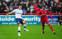 Preston North End's Ben Davies under pressure from Accrington Stanley's Jonny Edwards<br /> <br /> Photographer Kevin Barnes/CameraSport<br /> <br /> The Carabao Cup - Accrington Stanley v Preston North End - Tuesday 8th August 2017 - Crown Ground - Accrington<br />  <br /> World Copyright &copy; 2017 CameraSport. All rights reserved. 43 Linden Ave. Countesthorpe. Leicester. England. LE8 5PG - Tel: +44 (0) 116 277 4147 - admin@camerasport.com - www.camerasport.com