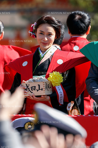 Japanese actress Sayaka Yamaguchi, takes part in the Setsubun festival at Naritasan Shinshoji Temple on February 3, 2017, in Chiba, Japan. Setsubun is an annual festival celebrated on February 3rd marking the day before the beginning of Spring. Japanese families throw soybeans out of the house to ward off evil spirits and into the house to invite good fortune. Japanese actors and sumo wrestlers are invited to participate in the ceremony at Naritasan Shinshoji Temple which holds one of the biggest events in Japan. (Photo by Rodrigo Reyes Marin/AFLO)
