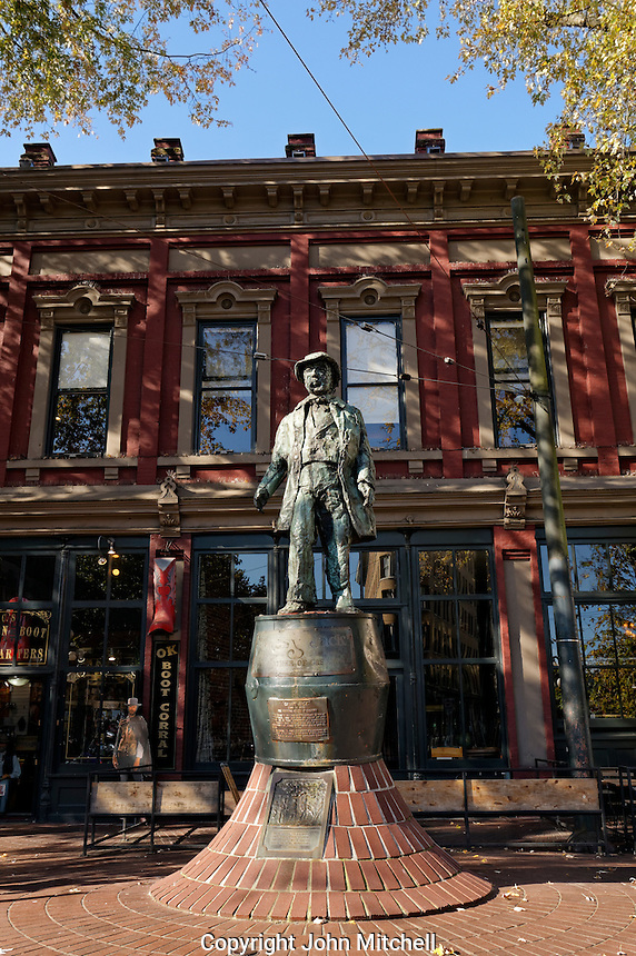 Captain John Gassy Jack Deighton statue in Maple Tree Square, Gastown, Vancouver, BC, Canada
