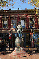 Captain John Gassy Jack Deighton statue in Maple Tree Square, Gastown, Vancouver, BC, Canada