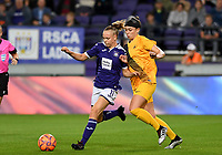 20190912 - Anderlecht , BELGIUM : Anderlecht's Sarah Wijnants (l) pictured in a duel with Biik's Kennedy Mae Rose (r) during the female soccer game between the Belgian Royal Sporting Club Anderlecht Dames  and BIIK Kazygurt from Shymkent in Kazachstan, this is the first leg in the round of 32 of the UEFA Women's Champions League season 2019-20120, Thursday 12 th September 2019 at the Lotto Park in Anderlecht , Belgium. PHOTO SPORTPIX.BE | DAVID CATRY