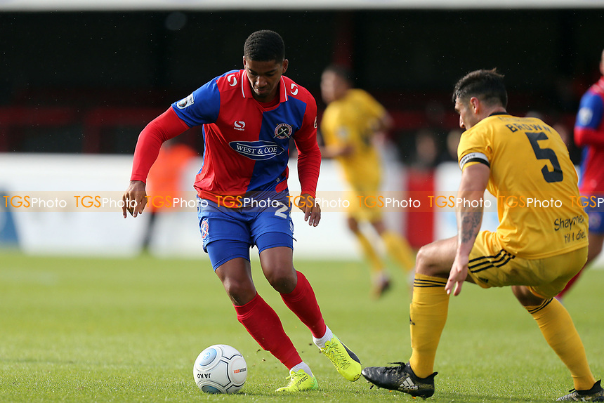 Matty Brown of FC Halifax and Mason Bloomfield of Dagenham during Dagenham & Redbridge vs FC Halifax Town, Vanarama National League Football at the Chigwell Construction Stadium on 16th September 2017