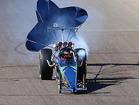 Feb 26, 2016; Chandler, AZ, USA; NHRA top dragster driver Denny Hills during qualifying for the Carquest Nationals at Wild Horse Pass Motorsports Park. Mandatory Credit: Mark J. Rebilas-