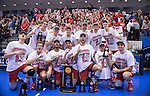 07 MAY 2016: The Ohio State University team poses for a group photo after defeating Brigham Young University at the Division I Men's Volleyball Championship is held at Rec Hall on the Penn State University campus in University Park, PA.  Ohio State defeated BYU 3-1 for the national title.  Ben Solomon/NCAA Photos