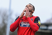 Wes Thomas of Grimsby Town rues a missed chance to score his hat trick in the first half during Yeovil Town vs Grimsby Town, Sky Bet EFL League 2 Football at Huish Park on 9th February 2019