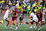 STONY BROOK, NY - MAY 27: Sam Apuzzo #2 of the Boston College Eagles and Kristen Gaudian #14 of the James Madison Dukes fight for the ball during the Division I Women's Lacrosse Championship held at Kenneth P. LaValle Stadium on May 27, 2018 in Stony Brook, New York. (Photo by Ben Solomon/NCAA Photos via Getty Images)
