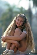 Vassouras, district of Rio de Janeiro, Brazil. 1981.  A family in Africa is besieged by a group of lions, driven mad by the drought. They have to survive multiple attacks but some of their colleagues are eaten by the lions. From the film Savage Harvest, directed by Robert E. Collins. Photo of the actress Tana Helfer.