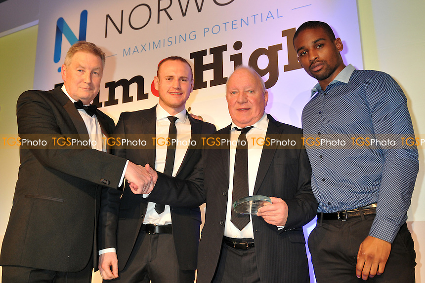 Mick Delaney (2nd R) receives the Henry Cooper Award alongside Deion Jumah (R) and George Groves (both Dale Youth ABA Champions) at the Cyril Paskin Trust Charity Dinner, Royal Lancaster Hotel, London  - 25/02/15 - MANDATORY CREDIT: Philip Sharkey/TGSPHOTO - Self billing applies where appropriate - contact@tgsphoto.co.uk - NO UNPAID USE