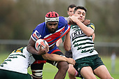 Viliame Rarasea tries to break free from Gene Te Amo and Logan Fonoti. Counties Manukau Premier Club Rugby game between Ardmore Marist and Manurewa, played at Bruce Pulman Park Papakura on Saturday May 12th 2018. Ardmore Marist won the game 20 - 3 after leading 17 - 3 at halftime.<br /> Ardmore Marist - Katetistoti Nginingini try, penalty try, Latiume Fosita conversion, Latiume Fosita 2 penalties.<br /> Manurewa - Logan Fonoti penalty.<br /> Photo by Richard Spranger.