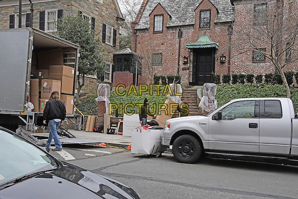 Movers carry boxes into the home at 2446 Belmont Road, NW; Washington, DC in the Kalorama neighborhood of Northwest Washington where where United States President Barack Obama and his family will reside after he leaves office.<br /> 16 Jaunuary 2016<br /> CAP/MPI/RS<br /> &copy;RS/MPI/Capital Pictures