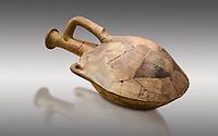 Hittite terra cotta water bottle carried by straps on the back. Hittite Old Period, 1650 - 1450 BC. Huseyindede. Çorum Archaeological Museum, Corum, Turkey