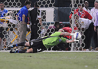 El Salvador goalkeeper Dagoberto Portillo (1) dives to make a save. Jamaica defeated El Salvador 2-0 in a international friendly match at RFK Stadium, Wednesday August 15, 2012.