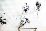 Verity Team Goalie King Ho (c) makes a save on Gaggia Empire Skater Tony Leung (l) during the Principal Standard League match between Gaggia Empire vs Verity at the Mega Ice on 10 January 2017 in Hong Kong, China. Photo by Marcio Rodrigo Machado / Power Sport Images