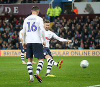 Preston North End's Paul Gallagher scores his sides second goal <br /> <br /> Photographer Mick Walker/CameraSport<br /> <br /> The EFL Sky Bet Championship - Aston Villa v Preston North End - Tuesday 2nd October 2018 - Villa Park - Birmingham<br /> <br /> World Copyright &copy; 2018 CameraSport. All rights reserved. 43 Linden Ave. Countesthorpe. Leicester. England. LE8 5PG - Tel: +44 (0) 116 277 4147 - admin@camerasport.com - www.camerasport.com