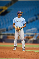 Joe Peguero (7) gets ready to deliver a pitch during the Tampa Bay Rays Instructional League Intrasquad World Series game on October 3, 2018 at the Tropicana Field in St. Petersburg, Florida.  (Mike Janes/Four Seam Images)