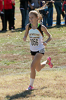 Lafayette senior Anna West runs to victory in the Class 4 race in 17:46 for 5k at the 2015 MSHSAA State Cross Country Championships at Oak Hills Golf Center in Jefferson City, Saturday, November 7.