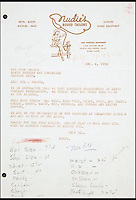 BNPS.co.uk (01202 558833)<br /> Picture: JuliensAuctions/BNPS<br /> <br /> ***Please use full byline***<br /> <br /> One for the money...<br /> <br /> A 1956 letter from a tailors confirming Elvis' sizes, including shoes.<br /> <br /> The only known pair of Elvis Presley's blue suede shoes have emerged after more than 50 years. The size 10s were bought by The King after the success of the 1956 song of the same name. He wore them on stage so much that there is circular wear in the soles from Elvis' famous gyrating moves. The shoes are tipped to sell for &pound;50,000 at Julien's Auctions in LA.