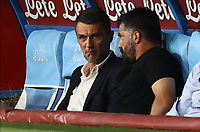 12th July 2020; Stadio San Paolo, Naples, Campania, Italy; Serie A Football, Napoli versus AC Milan;  Paolo Maldini DG AC Milan chats with Gennaro Gattuso coach of Napoli in the dugout