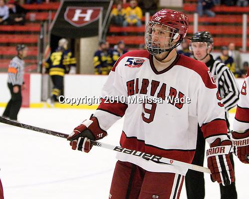 Danny Biega (Harvard - 9) - The visiting Merrimack College Warriors defeated the Harvard University Crimson 3-1 (EN) at Bright Hockey Center on Tuesday, November 30, 2010.
