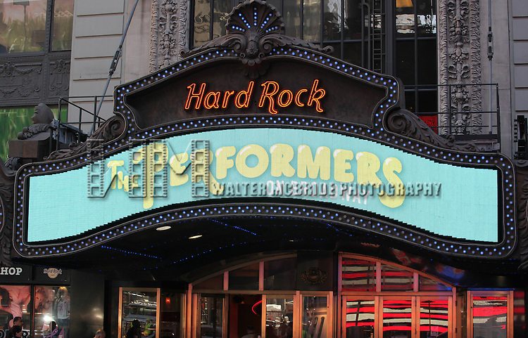 'The Performers' Marquee for Press Day at the Hard Rock Cafe on Sept. 25, 2012 in New York.