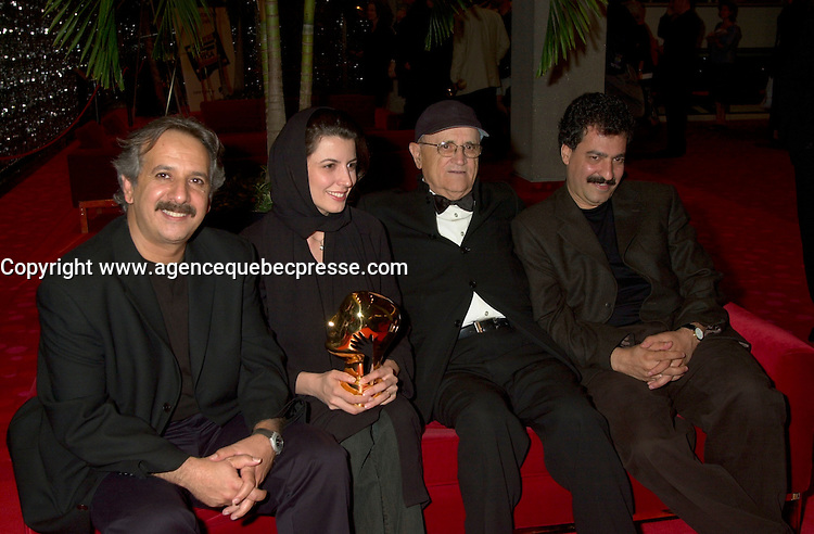 Sept 2, 2002, Montreal, Quebec, Canada<br /> <br /> Majid Majidi, President of the Jury (L)<br /> Leila Hatami, Best Actress award (M-L) for  THE DESERTED STATION,<br /> Serge Losique, President of the Festiva (M-R)l and <br /> Alireza Raisian, Director, THE DESERTED STATION (R)<br /> ,at the closing ceremony of the 2002 Montreal World Films Festival, Sept 2 2002, in  Montreal, Quebec, Canada<br /> <br /> Mandatory Credit: Photo by Pierre Roussel- Images Distribution. (&copy;) Copyright 2002 by Pierre Roussel <br /> <br /> NOTE : <br />  Nikon D-1 jpeg opened with Qimage icc profile, saved in Adobe 1998 RGB