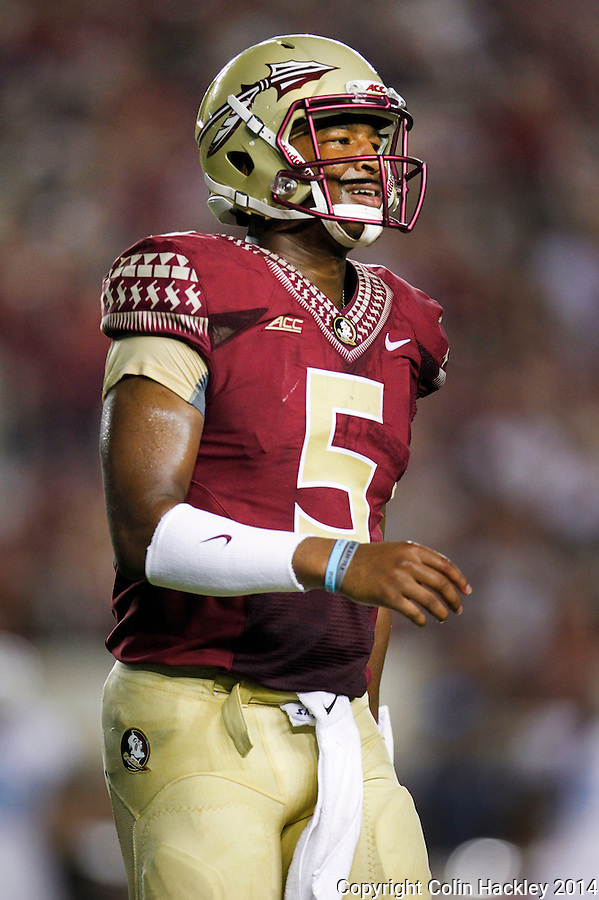 TALLAHASSEE, FL 9/6/14-FSU-CITADEL-Florida State quarterback Jameis Winston reacts to a dropped pass against The Citadel during second half action Saturday at Doak Campbell Stadium in Tallahassee. The Seminoles defeated the Bulldogs 37-12.<br /> <br /> COLIN HACKLEY PHOTO
