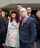 "Pictured: L-R Tracy Kennedy, and Paul Kennedy, the parents of Kelly Kennedy read a statement outside Swansea Crown Court after the sentencing. Monday 16 April 2018<br /> Re: Two young drivers who were racing each other along a main road when they killed a woman in an horrific head-on smash, have been jailed by SWansea Crown Court.<br /> Kelly Kennedy, 25, died at the scene of the crash on the main Swansea Valley road as she drove home from work.<br /> 23 year old Liam Price, had previously pleaded guilty to causing death by dangerous driving but co-defendant, Cory Kedward, also 23, denied the charge - he claimed he had not been involved in racing or any kind of ""competitive driving"".<br /> A jury found him guilty by a majority verdict following a six-day trial at Swansea Crown Court.<br /> Miss Kennedy was killed on the evening of July 4, 2016, on the A4067 between Pontardawe and Glais in south Wales. She was travelling to her home in Clydach, and travelling in the opposite direction to Price and Kedward.<br /> After driving past the Glais roundabout, Price in his turquoise Honda Civic Sport, and Kedward in his black Vauxhall Astra SRi, began racing each other."