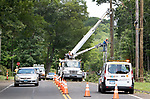 WOLCOTT CT. - 05 August 2020-080520SV03-A Frontier crew repairs a pole on Woodtick Road in Wolcott Wednesday. After the pole is fixed Eversourse can rehang the power lines.<br /> Steven Valenti Republican-American