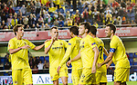 Players of Villarreal celebrates the goal of Giovani Dos Santos, in Uefa Europa League, 3 day. (Photo: Alter Photos / Bouza Press / Maria Jose Segovia)