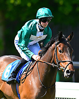 Dolly Mixture ridden by Joey Haynes goes down to the start of The Smith & Williamson British EBF Fillies' Handicap (Class 3)   during Afternoon Racing at Salisbury Racecourse on 17th May 2018