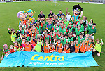 17-08-2013: To celebrate CentraÕs sponsorship of the GAA Hurling All-Ireland Senior Championship, The Centra  Brighten up Your  Day Community event took place at Fitzgerald Stadium, Killarney on Saturday.  Pictured are a group of participants with Centra GAA Hurling Ambassadors   Sean Og O hAilpin (Cork) and Colin Fennelly (Kilkenny) and coaches Mark Gennery and Pat Healy and the 'McCarthy family'  hurling cartoon characters. Picture: Eamonn Keogh (MacMonagle, Killarney)
