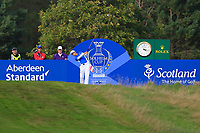 Azahara Munoz on the 17th tee during Day 3 Singles at the Solheim Cup 2019, Gleneagles Golf CLub, Auchterarder, Perthshire, Scotland. 15/09/2019.<br />