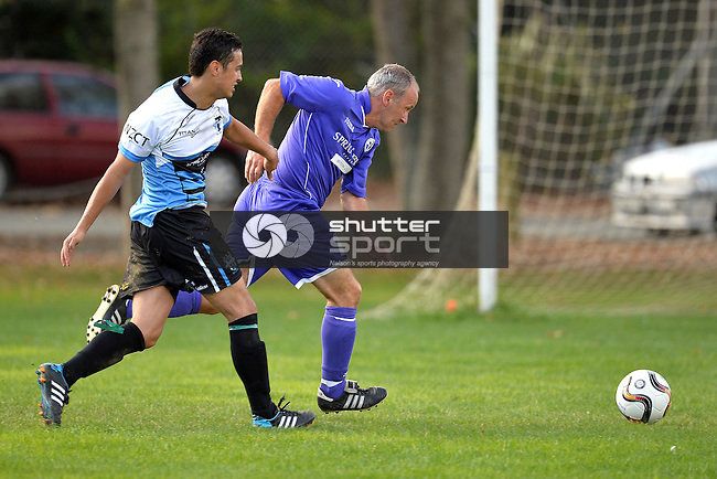 NELSON, NEW ZEALAND - April 25: Nelson Pine Industries Division Two Football: FC Nelson Locomotive v Sprig & Fern Tahuna, April 25 2015, Guppy Park, Nelson, New Zealand. (Photo by: Barry Whitnall Shuttersport Limited)