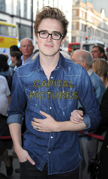 Tom Fletcher of McFly<br /> &quot;The West End Men&quot; press night, Vaudeville Theatre, The Strand, London, England.<br /> June 3rd, 2013<br /> half length blue jean denim shirt glasses <br /> CAP/ROS<br /> &copy;Steve Ross/Capital Pictures