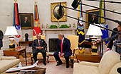 United States President Donald J. Trump, right, meets with His Royal Highness Prince Salman bin Hamad Al-Khalifa, Crown Prince, Deputy Supreme Commander, and First Deputy Prime Minister of the Kingdom of Bahrain, left, in the Oval Office of the White House. in Washington, DC on Monday, September 16, 2019.<br /> Credit: Chris Kleponis / Pool via CNP