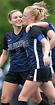 Columbia's Chloe Graff (left) celebrates a goal with teammate Foe Harrell in the Class 1A girls soccer supersectional game played at Columbia High School in Columbia, IL on Tuesday May 21, 2019.<br /> Tim Vizer/Special to STLhighschoolsports.com