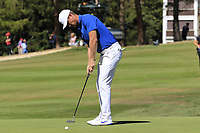 Lucas Bjerregaard (DEN) putts on the 5th green during Sunday's Final Round 4 of the 2018 Omega European Masters, held at the Golf Club Crans-Sur-Sierre, Crans Montana, Switzerland. 9th September 2018.<br /> Picture: Eoin Clarke | Golffile<br /> <br /> <br /> All photos usage must carry mandatory copyright credit (&copy; Golffile | Eoin Clarke)