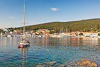 Sailing boats at the port of Fiskardo in Kefalonia island, Greece