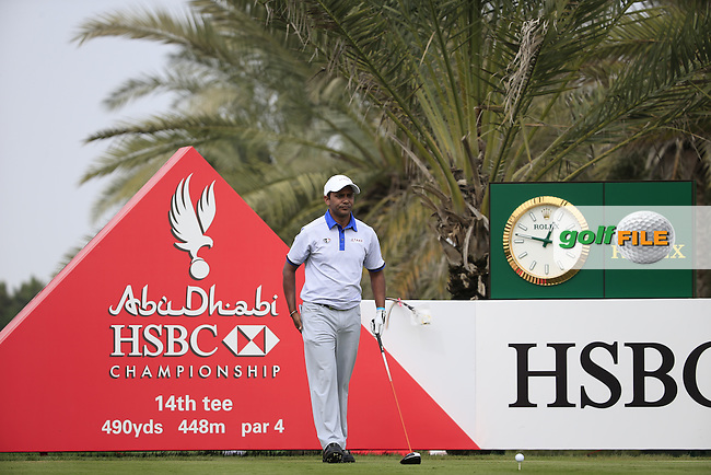 SSP Chawrasis (IND) on the 14th during the 1st round of the Abu Dhabi HSBC Championship, Abu Dhabi Golf Club, Abu Dhabi,  United Arab Emirates. 19/01/2017<br /> Picture: Golffile | Fran Caffrey<br /> <br /> <br /> All photo usage must carry mandatory copyright credit (&copy; Golffile | Fran Caffrey)