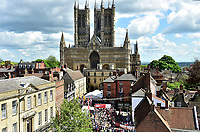Picture by Allan McKenzie/SWpix.com - 14/05/2017 - Cycling - HSBC UK British Cycling Spring Cup Series  - Lincoln Grand Prix 2017 - Lincoln Cathedral start roll out