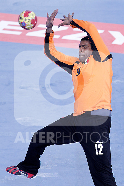 Egypt's Mohamed Mahmoud during 23rd Men's Handball World Championship preliminary round match.January 12 ,2013. (ALTERPHOTOS/Acero)