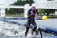 04 JUL 2010 - ATHLONE, IRL - Alistair Brownlee (GBR) leaves the water at the end of the first swim lap at the European Elite Mens Triathlon Championships (PHOTO (C) NIGEL FARROW)