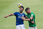 Cristian Caetano of Rangers (L) fights for the ball with Andrew James Russell of Wofoo Tai Po (R) during the week three Premier League match between BC Rangers and Wofoo Tai Po at Sham Shui Po Sports Ground on September 17, 2017 in Hong Kong, China. Photo by Marcio Rodrigo Machado / Power Sport Images
