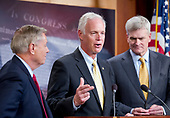 "United States Senator Ron Johnson (Republican of Wisconsin), center, one of several key Republican Senators, makes a statement as he announces he will not support the ""skinny repeal"" of the Affordable Care Act (ACA) unless he has assurances from US House leaders that the bill will never become law. Instead they demand negotiations or they will kill the bill, in the US Capitol in Washington, DC on Thursday, July 27, 2017.  From left to right: US Senator Lindsey Graham (Republican of South Carolina), Senator McCain, and US Senator Bill Cassidy (Republican of Louisiana).<br /> Credit: Ron Sachs / CNP"