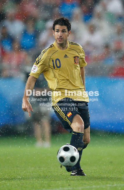 VIENNA - JUNE 26:  Cesc Fàbregas of Spain in action against Russia during a UEFA Euro 2008 semi-final match June 26, 2008 at Ernst Happel Stadion in Vienna, Austria.  (Photograph by Jonathan P. Larsen)