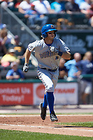 Grant Kay (17) of the Durham Bulls hustles down the first base line against the Lehigh Valley Iron Pigs at Coca-Cola Park on July 30, 2017 in Allentown, Pennsylvania.  The Bulls defeated the IronPigs 8-2.  (Brian Westerholt/Four Seam Images)