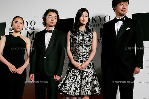 "(L to R) Eri Fukatsu, Shota Sometani, Ai Hashimoto, Takashi Yamazaki, October 23, 2014, Tokyo, Japan : (L to R) Actress Eri Fukatsu, Actor Shota Sometani, Actress Ai Hashimoto and Director Takashi Yamazaki of the movie ""PARASYTE"" pose for the cameras at the 27th Tokyo International Film Festival, Opening Event Red Carpet at Roppongi Hills Arena in Tokyo, Japan, October 23, 2014. This year the Prime Minister Shinzo Abe attends the opening ceremony. The Film Festival will run through until Friday 31. (Photo by Rodrigo Reyes Marin/AFLO)"