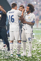 Real Madrid Mateo Kovacic and Marcelo with his son during the celebration of the 12th UEFA Championship won by Real Madrid  at Santiago Bernabeu Stadium in Madrid, June 04, 2017. Spain.<br /> Foto ALTERPHOTOS/BorjaB.Hojas/Insidefoto