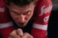 Ryan Mullen (IRL/Trek-Segafredo) working himself into a serious sweat at the prerace warmup<br /> <br /> UCI MEN'S TEAM TIME TRIAL<br /> Ötztal to Innsbruck: 62.8 km<br /> <br /> UCI 2018 Road World Championships<br /> Innsbruck - Tirol / Austria